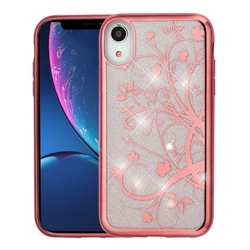 ASMYNA Electroplating Rose Gold Maple Vine (Transparent Clear) Full Glitter Hybrid Case (with