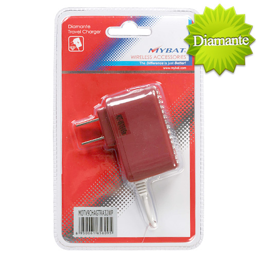 Red Diamante Travel Charger Rubberized for MOTOROLA V9