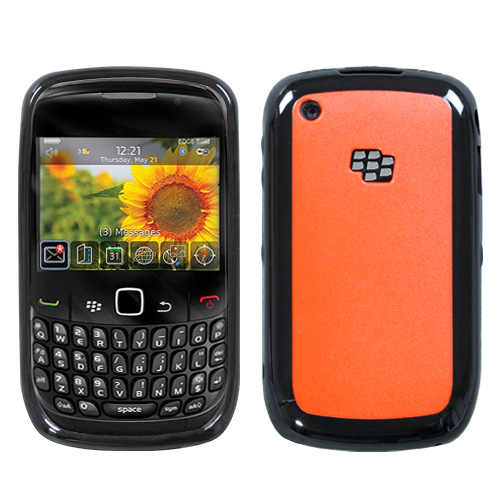 Gummy Cover for RIM BLACKBERRY 8520 Curve Solid Red/Bla