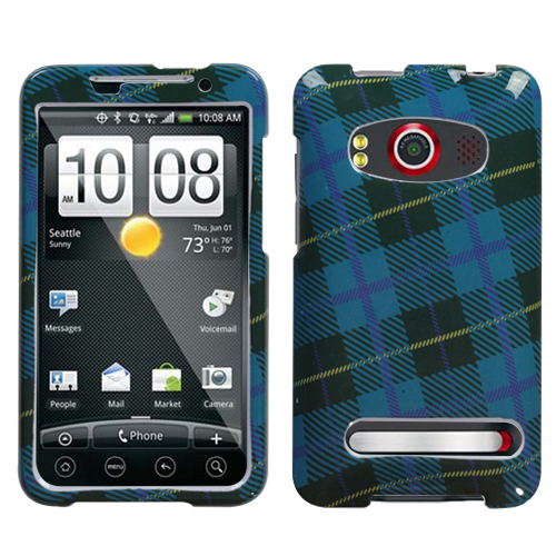 Blue Plaid Weave Phone Protector Cover for HTC EVO 4G