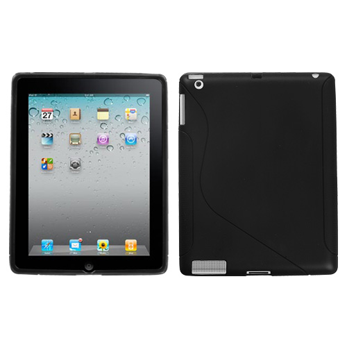 Black S Shape Candy Skin Cover for APPLE iPad 2