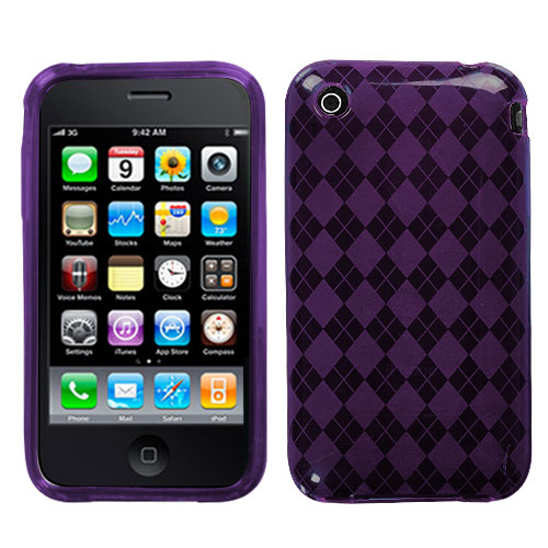 Purple Argyle Candy Skin Cover for APPLE iPhone 3GS/3G