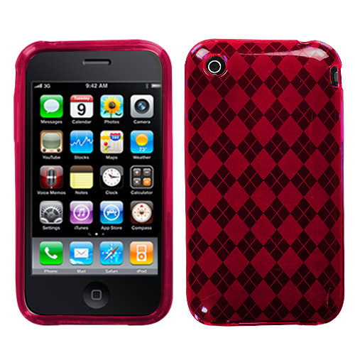T-Red Argyle Candy Skin Cover for APPLE iPhone 3GS/3G