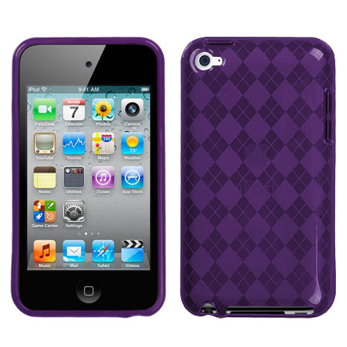 Purple Argyle Candy Skin Cover for APPLE iPod touch 4th