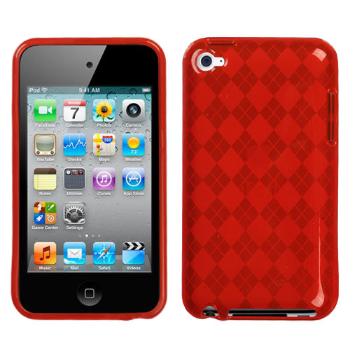 T-Red Argyle Candy Skin Cover for APPLE iPod touch 4th