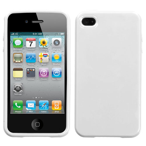 Solid Ivory White Candy Skin Cover for APPLE iPhone 4S/