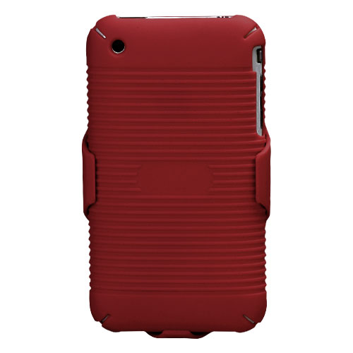 Rubberized Red Hybrid Holster for APPLE iPhone 3GS/3G