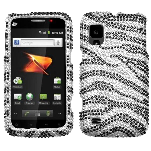 Black Zebra Skin Diamante Protector Cover for ZTE N860
