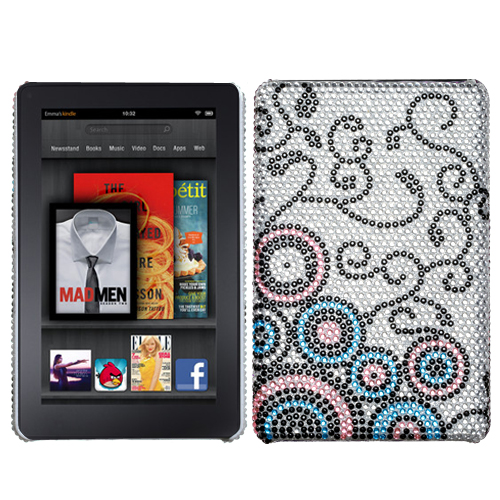 Bubble Flow Diamante Back Protector Cover for KINDLE fi
