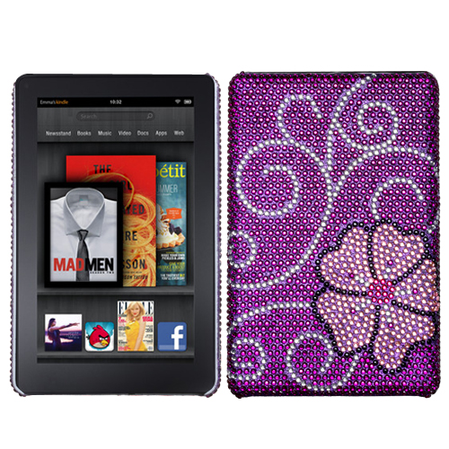 Blooming Diamante Back Protector Cover for KINDLE fire