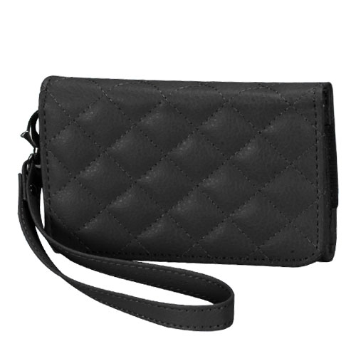 Premium Black Quilted Wallet 301 for APPLE iPhone 4S/4