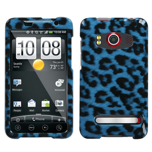 Leopard Skin Cyan Phone Protector Cover for HTC EVO 4G