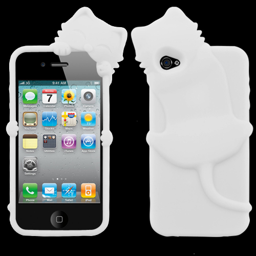 White Cat Peeking Pets Skin Cover for APPLE iPhone 4S 4