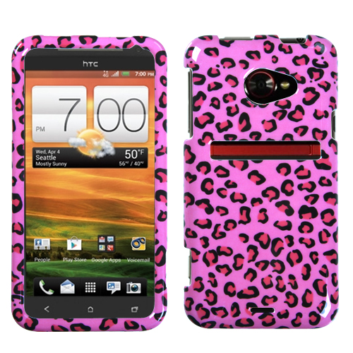 Pink Leopard Skin Phone Protector Cover for HTC: EVO 4G
