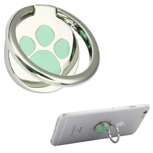 iPhone 11 Stand-Silver (Green Dog Paw Print) Metal Ring Stand