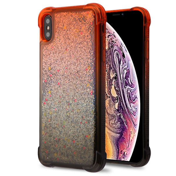 iPhone XS MAX Red and Black/Silver Confetti Quicksand Glitter Hybrid Protector Cover