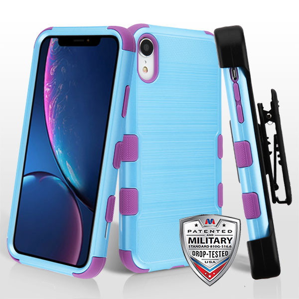 Metallic Baby Blue Brushed/Electric Purple TUFF Hybrid Phone Protector Cover [Military-Grade Certified](with Black Horizontal Holster)