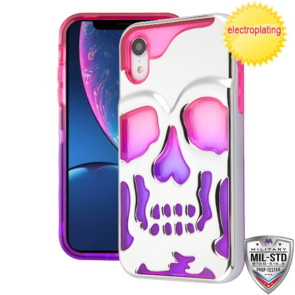 Silver Plating/Hot Pink/Purple SKULLCAP Lucid Hybrid Protector Cover [Military-Grade Certified](with Package)