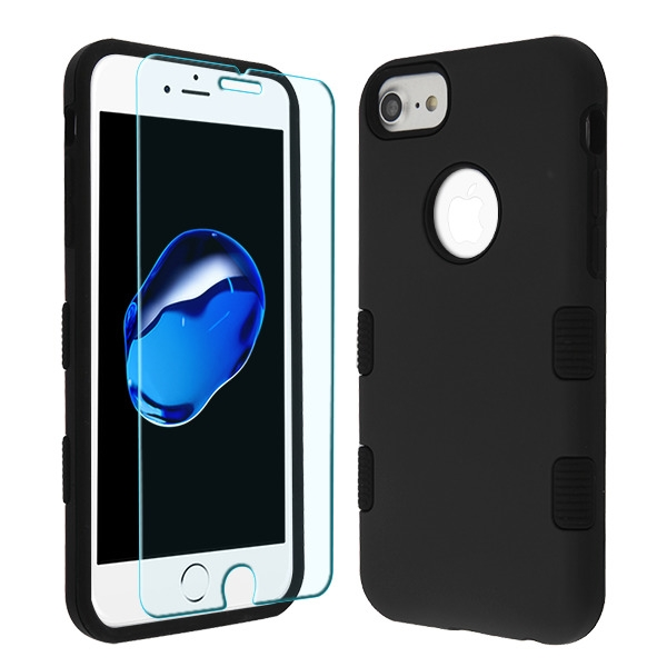 Rubberized Black/Black TUFF Lyte Hybrid Protector Cover (Tempered Glass Screen Protector)(with Package)