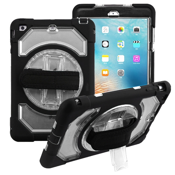 Transparent Clear/Black Rotatable Stand Protector Cover (with Wristband)(with Package)