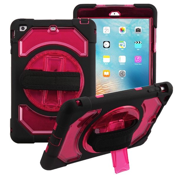 Transparent Red/Black Rotatable Stand Protector Cover (with Wristband)(with Package)