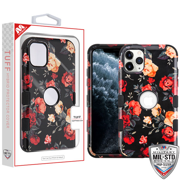 Red and White Roses/Black TUFF Hybrid Phone Protector Cover [Military-Grade Certified](with Package)