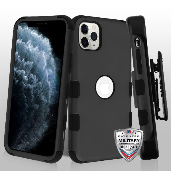 Rubberized Black/Black TUFF Hybrid Phone Protector Cover [Military-Grade Certified](with Black Horizontal Holster)
