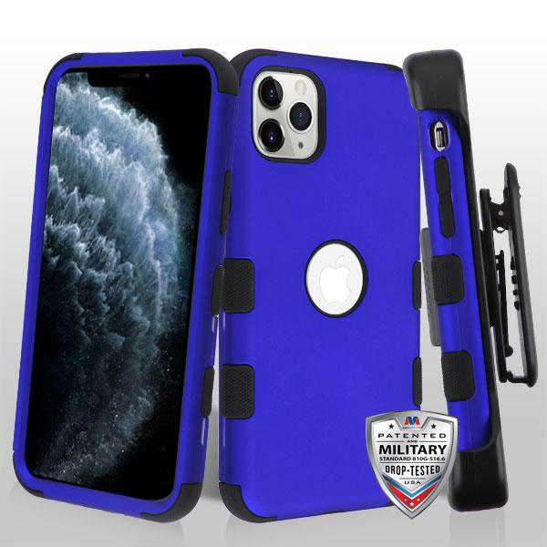 Titanium Dark Blue/Black TUFF Hybrid Phone Protector Cover [Military-Grade Certified](with Black Horizontal Holster)