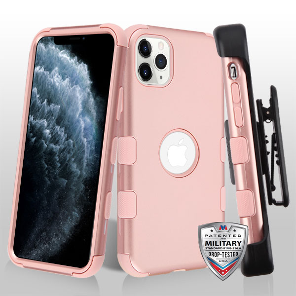 Rose Gold/Rose Gold TUFF Hybrid Phone Protector Cover [Military-Grade Certified](with Black Horizontal Holster)