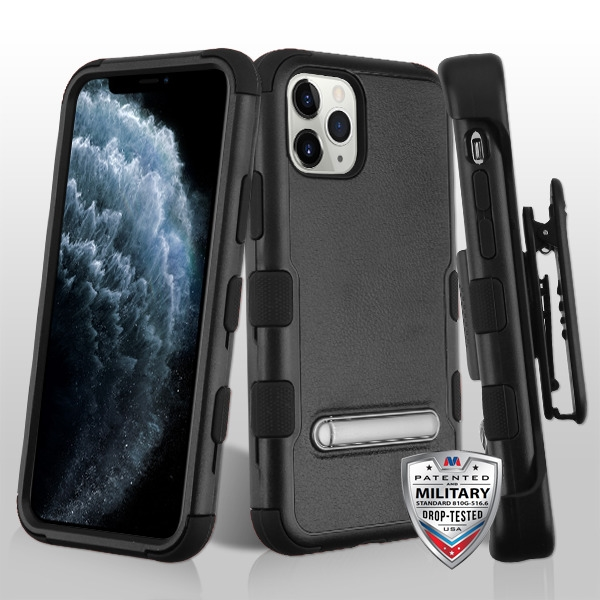 Natural Black/Black TUFF Hybrid Phone Protector Cover (with Magnetic Metal Stand)[Military-Grade Certified](with Black Horizontal Holster)