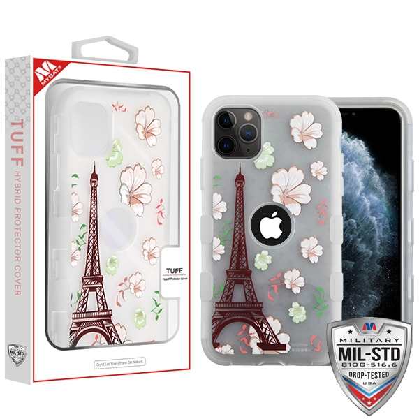 Semi Transparent White Frosted Eiffel Tower in the Season of Blooming/Transparent White TUFF Hybrid Protector Cover [Military-Grade Certified](with Package)