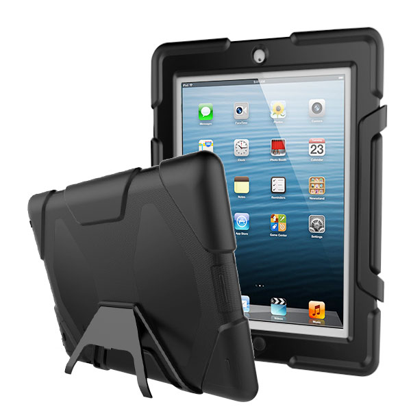 Black/Black Heavy Duty Case with Apple Pencil Holder and Detachable Kickstand (with Package)