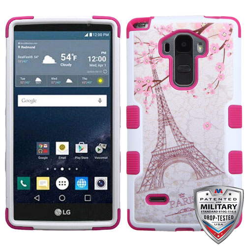 MYBAT Romantic Eiffel Tower/Hot Pink TUFF Hybrid Phone Protector Cover [Military-Grade Certified]