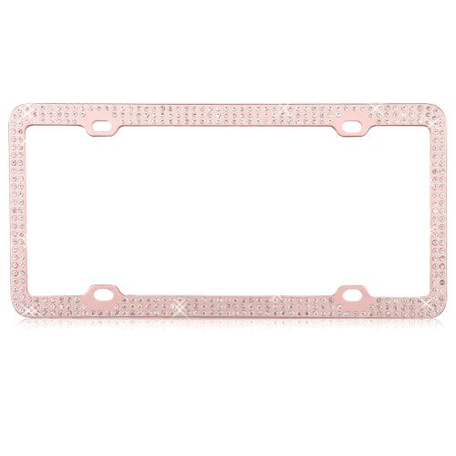 MYBAT Rose Gold Diamond License Plate Frame   LPF2CR003WIT