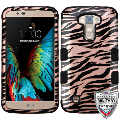 MYBAT Zebra Skin/Black (2D Rose Gold)/Black TUFF Hybrid Phone Protector Cover [Military-Grade Certified]