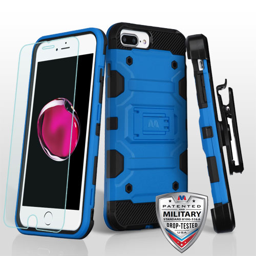 MYBAT Blue/Black 3-in-1 Storm Tank Hybrid Protector Cover Combo [Military-Grade Certified] (with Black Holster)(Tempered Glass Screen Protector)(with ...