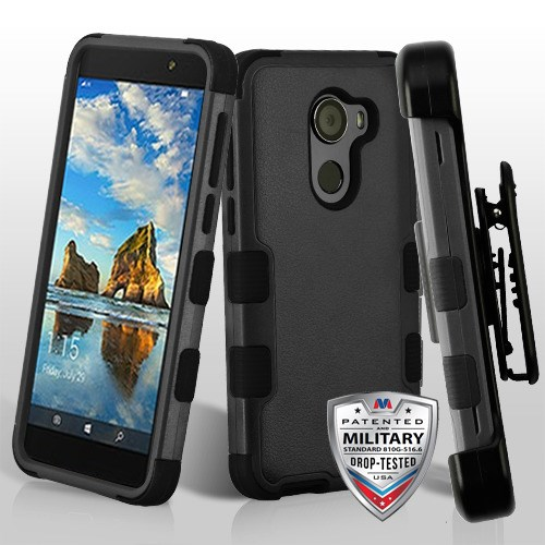 MYBAT Natural Black/Black TUFF Hybrid Phone Case [Military-Grade Certified]( with Black Horizontal Holster) | ALCWALTERSCMBBKTUFFSO251