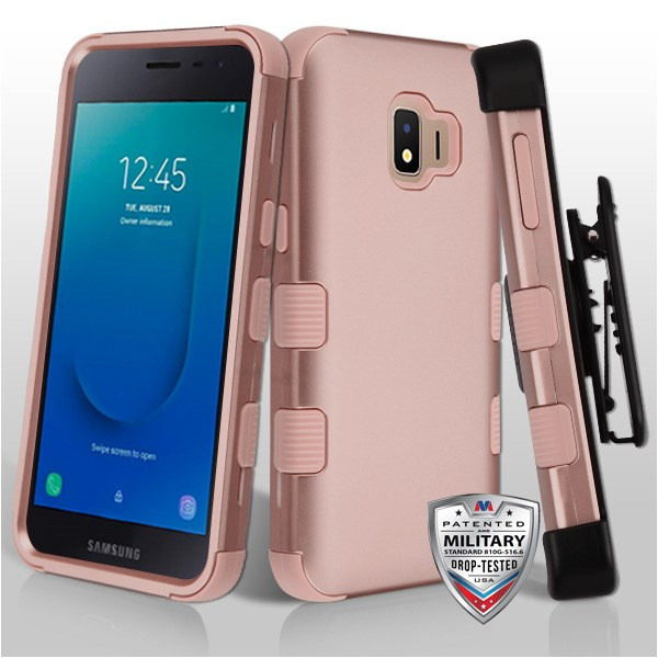 MYBAT Rose Gold/Rose Gold TUFF Hybrid Phone Protector Cover [Military-Grade Certified](with Black Horizontal Holster)