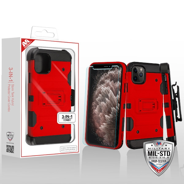 MYBAT Red/Black 3-in-1 Storm Tank Hybrid Protector Cover Combo (with Black Holster)(Tempered Glass Screen Protector)[Military-Grade Certified](with Package)
