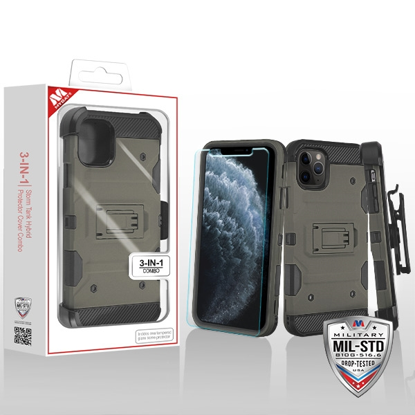 MYBAT Dark Grey/Black 3-in-1 Storm Tank Hybrid Protector Cover Combo (with Black Holster)(Tempered Glass Screen Protector)[Military-Grade Certified](with Package)