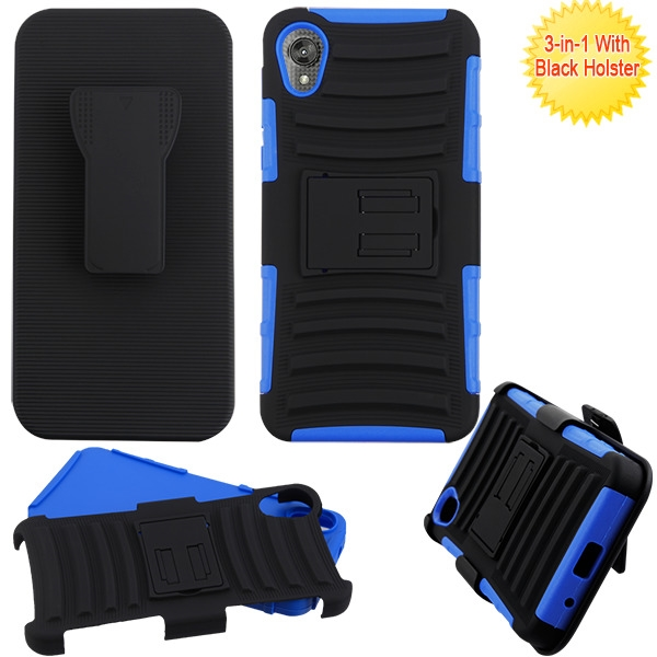 ASMYNA Black/Dark Blue Advanced Armor Stand Protector Cover Combo (with Black Holster)(with Package)