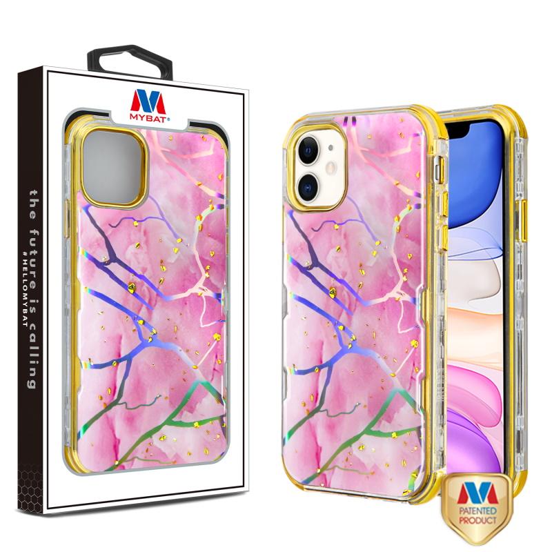 MYBAT Pink Marbling/Electroplating Gold TUFF Kleer Hybrid Case (with Package)