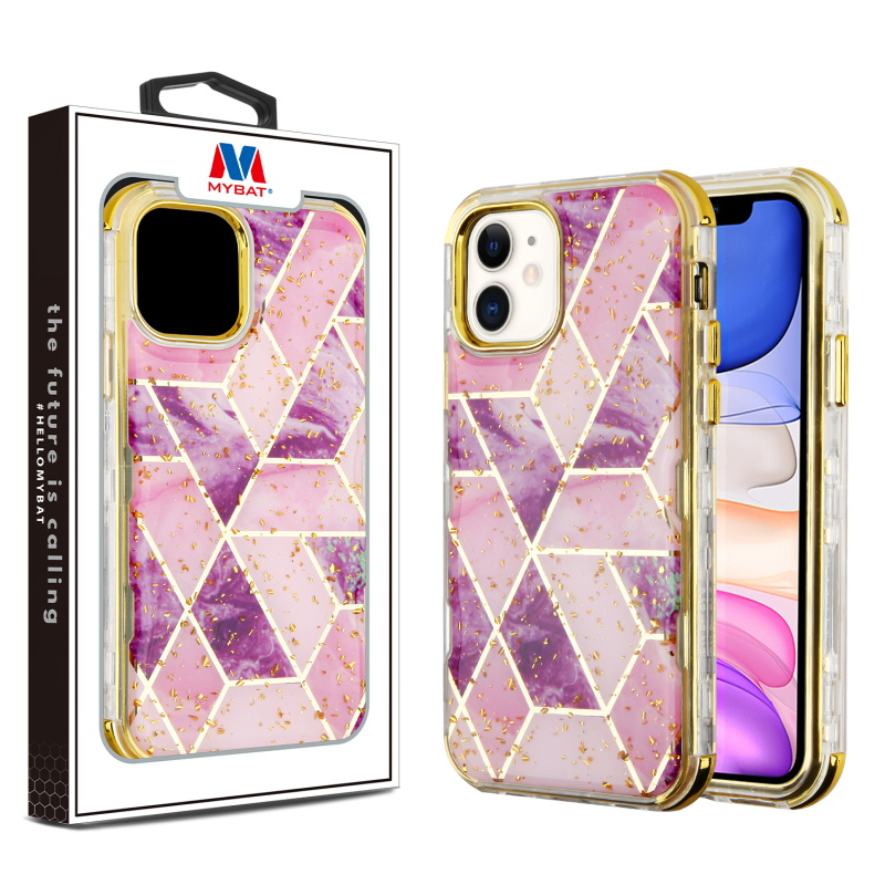 MYBAT Electroplated Purple Marble/Electroplating Gold TUFF Kleer Hybrid Case (with Package)