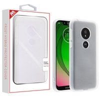 Moto G7 Play White Marbling/Iron Gray Fuse Hybrid Protector Cover