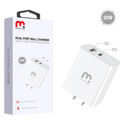 MyBat Pro Dual Port Wall Charger (USB-A + USB-C 20W Power Delivery) - White
