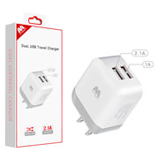 White Dual USB Travel Charger Adapter(2.1A)